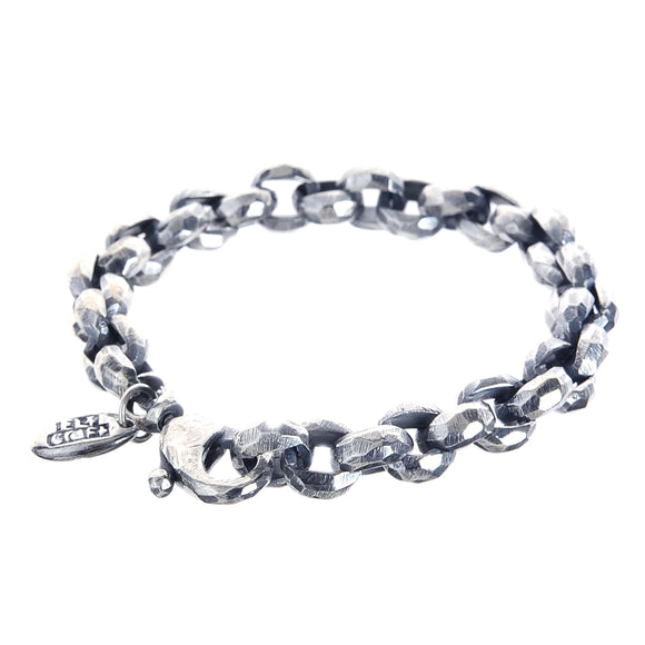 Silver Bracelet PEA Chain M Facetted