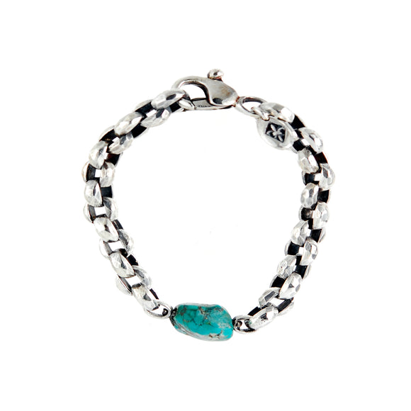 Silver Bracelet PEA Chain Facetted with ROCK