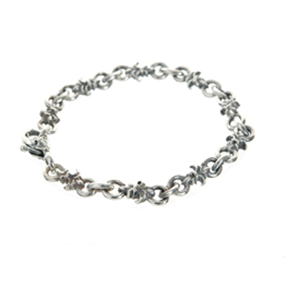 Silver Bravelet Navette Chain with Lilies