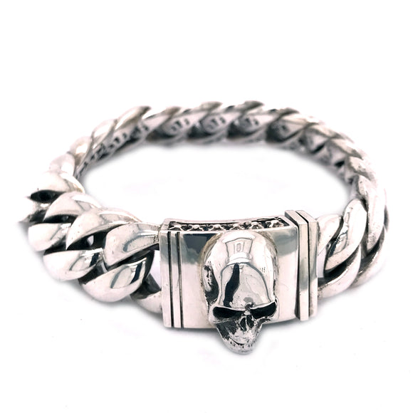 Silver Bracelet Plain Curb Chain with Skull Lock