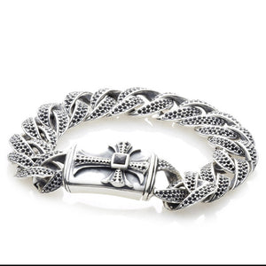 "Silver Bracelet ""Sprouts Cross""  Royal chain M"