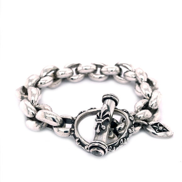 Silver Bracelet Peas Chain XL with Loop and Lily Stick