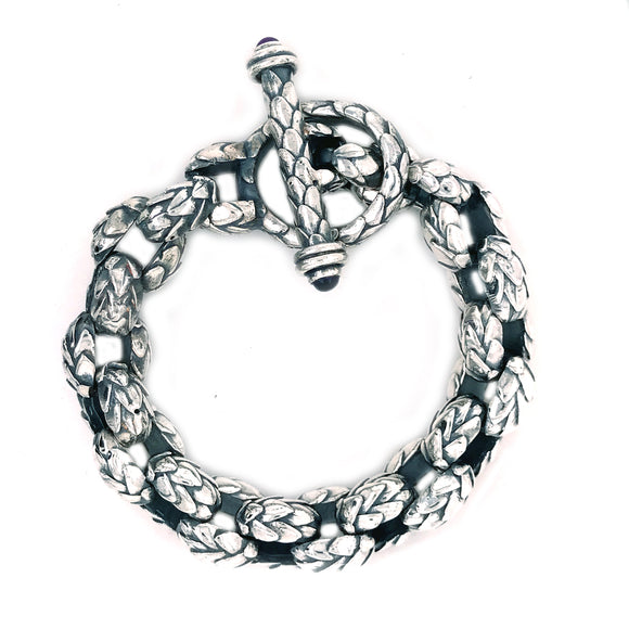 Silver Bracelet Peas Chain XL DRAGON SCALES with Loop and Lily Stick