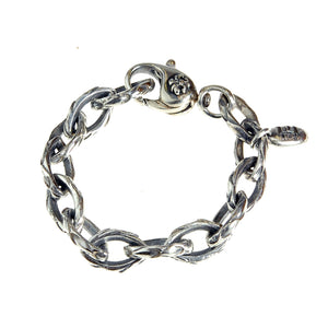 Silver Bracelet NAVETTE CHAIN DRAGON SCALES with Lily Carabiner