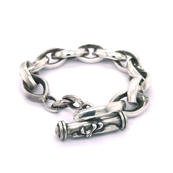 Silver Bracelet NAVETTE CHAIN L Plain with Lily Stick