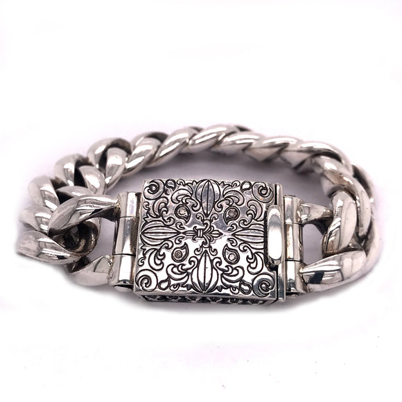 Silver Bracelet Plain and Engraved Garden At Night Lock