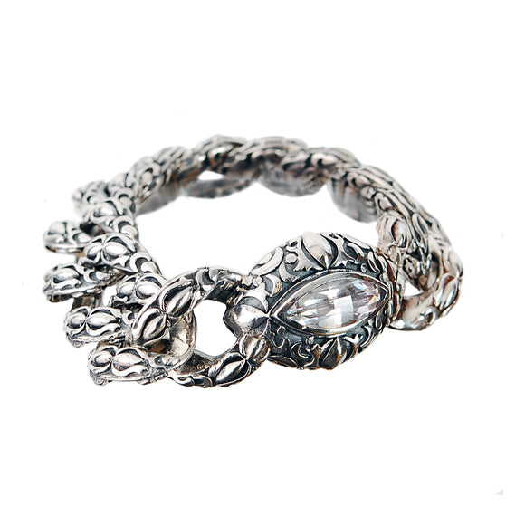 Silver Bracelet Navette-Garden at Night