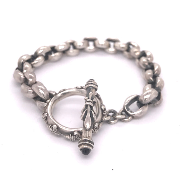 Silver Bracelet PEAS Chain Plain with Lily Stick