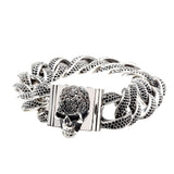 "Silver Bracelet ""SKULL""L Pave and Chain Royal L"