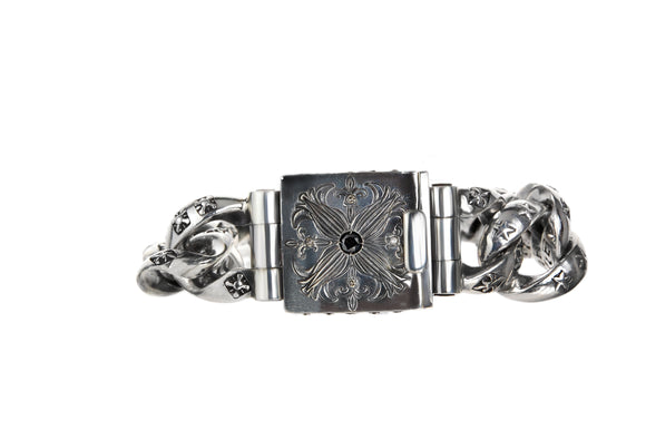 Silver Bracelet GARDEN AT NIGHT Engraved with Diamonds