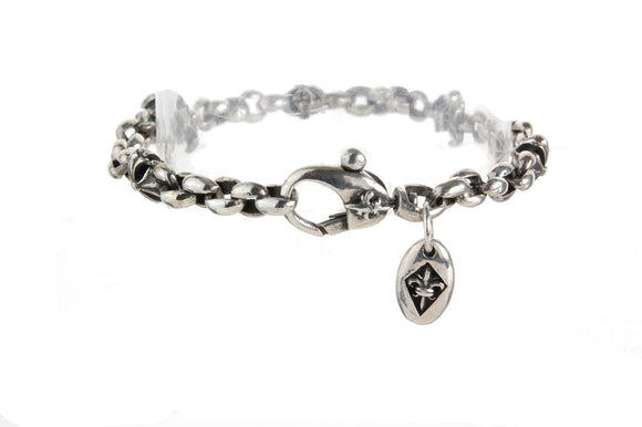 Silver Bracelet PEAS with Lilies and Sprouts Stars