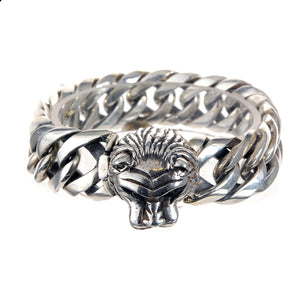 "Silver Bracelet ""Lion Head"" L  chain M"