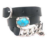 Silver Leatherband Bracelet Chain2 and Oval Turquoise with Buckle