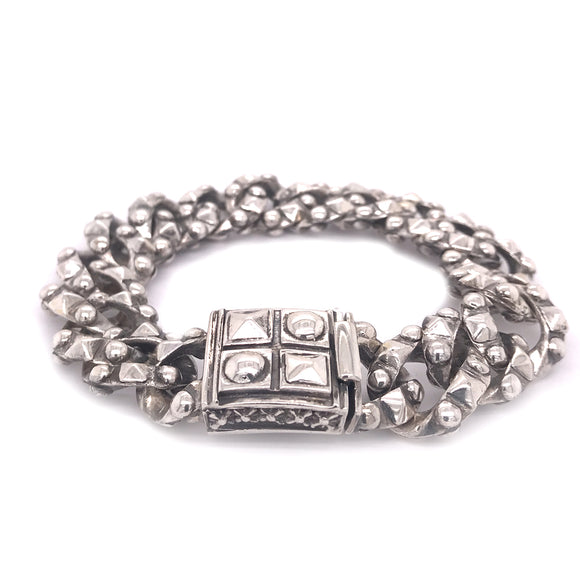 Silver Bracelet Pyramides and Domes Chain S and Pyramides Lock