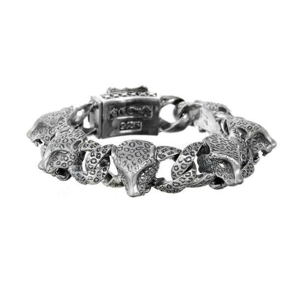 Silver Bracelet Leopard Heads and Shield with Meteorite Boxlock