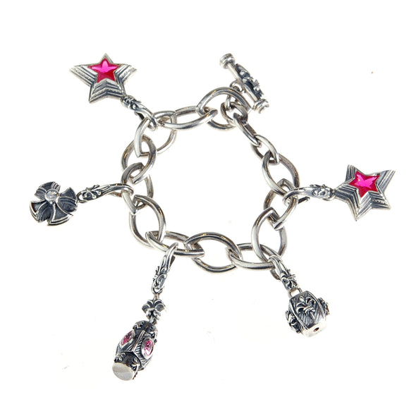 Silver BEGGING Bracelet Navette Chain with Lilystick SHOOTING STARS and Charms