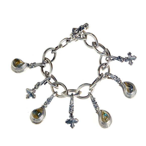 Silver BEGGING Bracelet Navette Chain with Lilystick PAISLEY