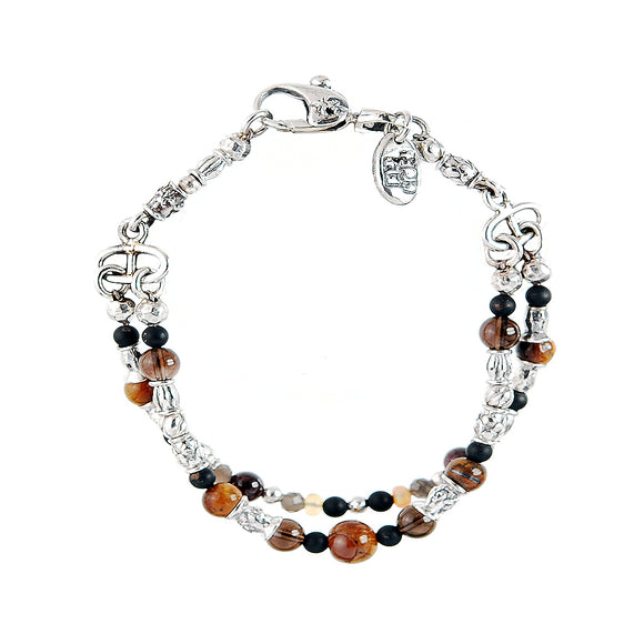 Silver Bracelet 2 Strand TUBES and BEADS with TIGER EYE and OPALS