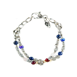 Silver Bracelet TUBES and BEADS with LILIES BALL Lapis and Labradorit and Opals