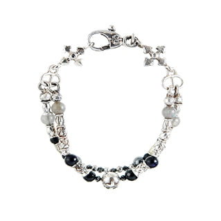 Silver Bracelet Tubes and Beads with ZODIAC Onyx and Black Diamonds