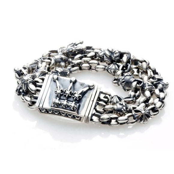 Silver Bracelet ErbsX Tripple FETISH and CROWN Lock