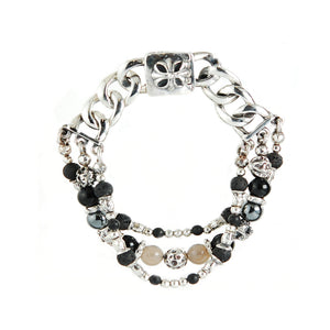 Silver Bracelet Beads SUN and MOON and STARS Curb Chain with MALTESER CROSS Lock