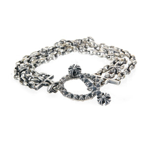 "Silver Bracelet Peas Chain X Tripple ""Lilies and Sprouts Stars"" with Stick and Loop Stars"