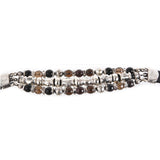 Silver Leather Bracelet Beads and PYRAMIDES and DOMES  Silver Tubes 15