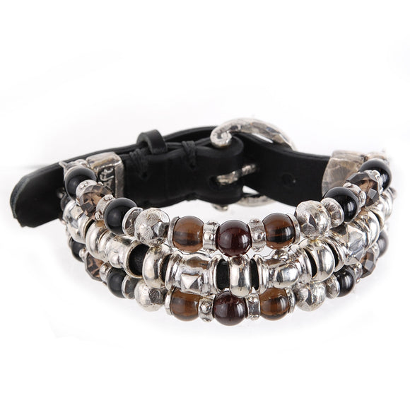 Silver Leather Bracelet Beads and