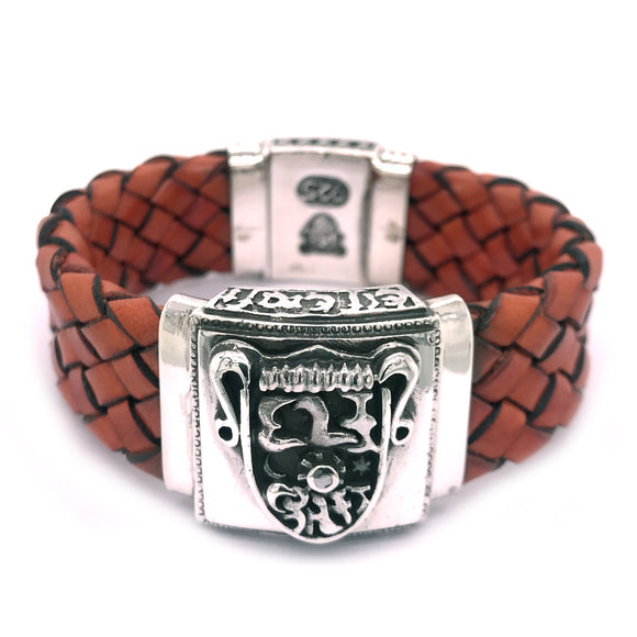 Silver Leather Bracelet Elfin´Shield with Meteorit + box lock