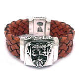 Silver Leather Bracelet ELFIN SHIELD with Meteorit and Box Lock