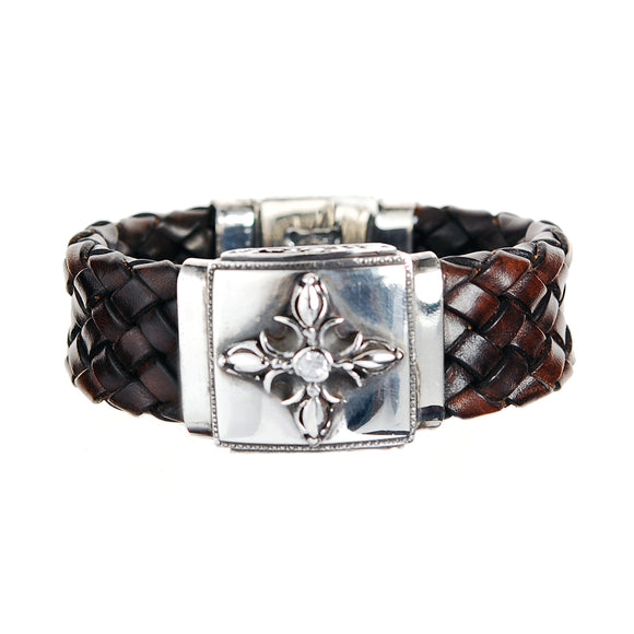Silver Leather Bracelet with