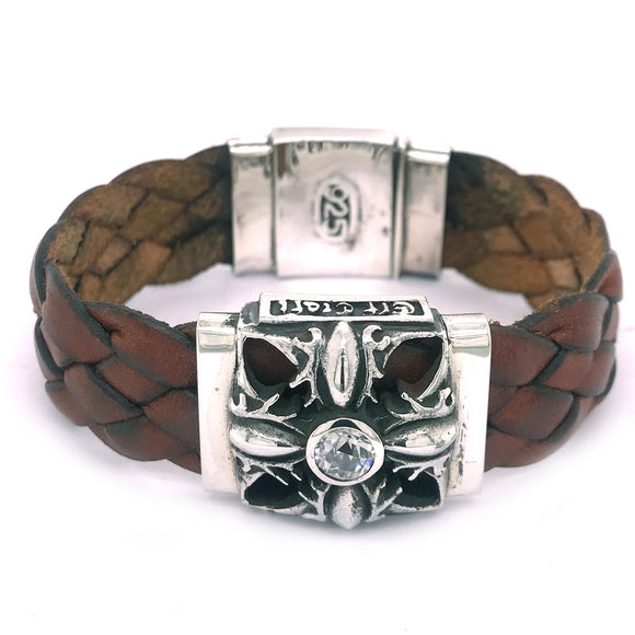 Silver Leather Bracelet MALTESER CROSS in GaN Decor plus SHIELD Box Lock