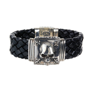 Silver Leather Bracelet SKULL and Lilies 22