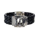"Silver Leather Bracelet ""Skull"" and Lilies 22"