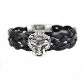 Silver Leather Bracelet Lion Head L with Shieldlock and Diamond Eyes