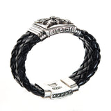 "Silver Leather Bracelet ""Morning Star"" L  with  Lily Box Lock 22"