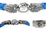 "Silver Bracelet ""Magic Plant with Skull"" and Oval Stone 13"