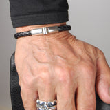 Silver Leather Bracelet Plain Jointlock 6