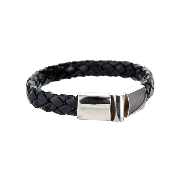 Silver Leather Bracelet Plain  Jointlock 10