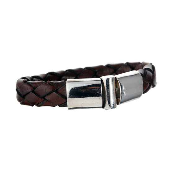 Silver Leather Bracelet Plain  Jointlock 13