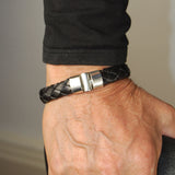 Silver Leather Bracelet Jointlock PLAIN Short 13