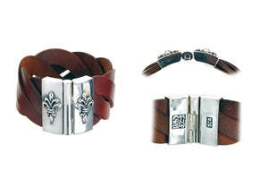 "Silver Leather Bracelet with ""Lily"""