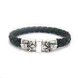 Silver Leather Bracelet Plain LILY Jointlock 10