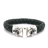 Silver Leather Bracelet Plain LILY Jointlock 13