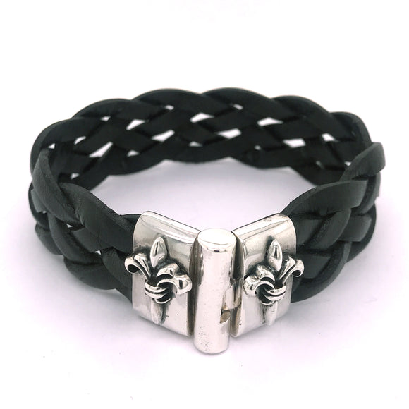 Silver Leather Bracelet LILY Jointlock