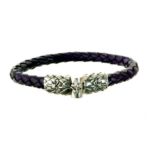 Silver Leather Bracelet LILY and DRAGON SCALES Jointlock 7