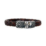 Silver Leather Bracelet LILY and DRAGON SCALES Jointlock 10