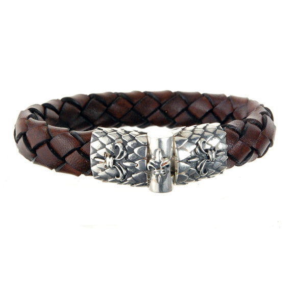 Silver Leather Bracelet LILY and DRAGON SCALES Jointlock 13