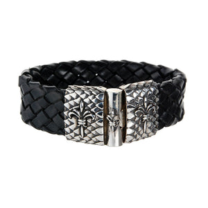 Silver Leather Bracelet LILY and DRAGON SCALES Jointlock 22